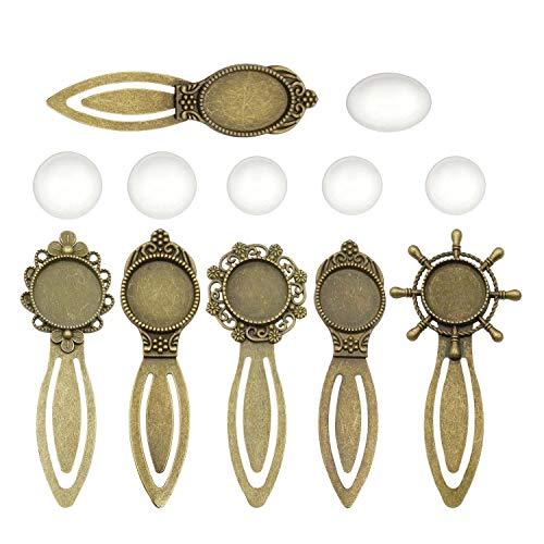 Youdiyla 6 Sets Photo Bookmark Trays Kits with Matching Glass Cabochon, Antique Bronze Tone, Metal Base Setting Blank Bezel Frame Cameo (HM176) ()