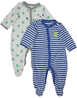 Baby Terry Snap Set (Size 3M, Color White/Blue)