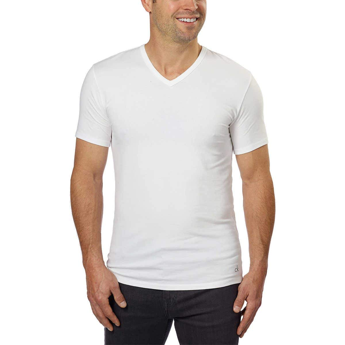 Calvin Klein Cotton Stretch V-Neck, Classic Fit T-Shirt, Men's (3-pack) (White or Black) (White, Large) by Calvin Klein