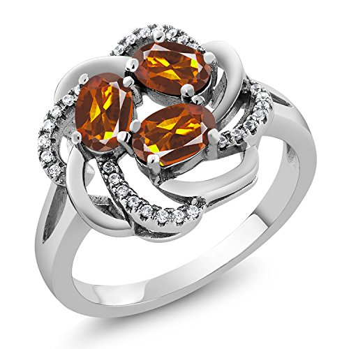 Gem Stone King 1.57 Ct Oval Orange Red Madeira Citrine 925 Sterling Silver Ring (Size ()