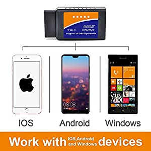 Wireless Car Wifi OBD2 Scanner & Code Reader Scan Tool - OBD Scanner Connects Via WiFi With IOS, Android & Windows Device, Features 3000 Code Database, For Most Vehicles In the USA!
