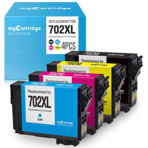 myCartridge Re-Manufactured Ink Cartridge Replacement for Epson 702XL 702 XL T702XL T702 (Black Cyan Magenta Yellow, 4-Pack)