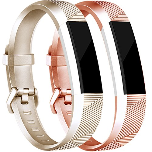 Tobfit 2Pcs Fitbit Alta HR Bands/Fitbit Alta HR Bands for Women and Men, Smooth TPU Classic Accessory Band Wristband for Fitbit Alta/Fitbit Alta HR, Small, Gold+Rose Gold