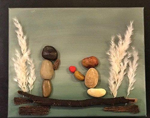(Pebble Art. Rock Art. Wall Art. Wall Decor. Home Decor. Family Art. Stone Art. Love. Family. Canvas Art.)