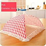 Food Cover Tent Umbrella Plaid Mesh Stitching Fabric Collapsible Food Tent for Picnics BBQ Camping Outdoor Party Supplies (Pink)