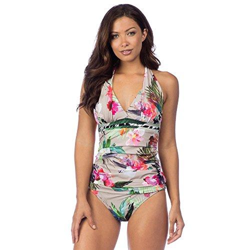 La Blanca Women's V-Neck Halter Tankini Swimsuit Top, Pebble/Beyond The Jungle Print, 4 ()