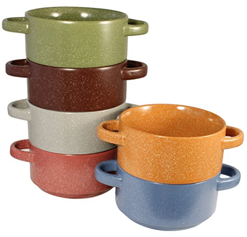 Stoneware Stackable Double Handle Soup and Salad Bowls with Pan Scraper, 5.5 Inch 26 Ounce, Set of 6, Multi Colors (Stoneware Soup Pot compare prices)