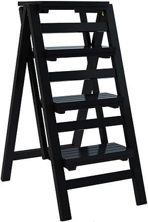 Taburete de Madera sólida Taburete Plegable Escaleras multifunción Silla portátil Escalera de 4 escalones Escalera de Doble Uso Pantalla Ascend Estante para Almacenamiento de macetas: Amazon.es: Hogar