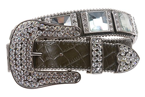 Western Cowgirl Alligator Rhinestone Croco Print Leather Belt Size: M/L - 35 Color: Olive Green Croco Print
