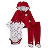 Small Wonders Newborns Bodysuit, Fleece Hoodie Jacket & Pants - Babys First Christmas