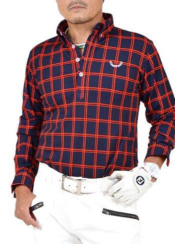 歌マットレス不承認【コモンゴルフ】 COMON GOLF メンズ ストレッチ ワッフル素材 長袖 ゴルフ ポロシャツ CG-LP652