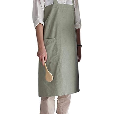 El delantal adulto simple del algodón, delantal del lino del algodón del delantal del trabajo