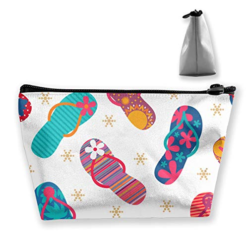 Price comparison product image Women Cool Flip Flops Slippers Toiletry Bag Holder Multi-Purpose Cosmetic Train Case Lazy Zipper Clutch Bag Large Capacity for Toiletry Digital Accessories Trip