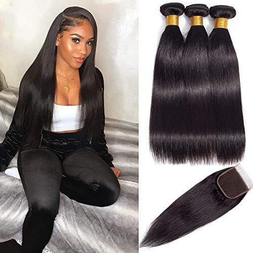 Brazilian Virgin Hair Straight Bundles With Closure (20/22/24/+18 Inch) Double Weft Human Hair Bundles With Closure 9A Mink Brazilian Hair With Closure Free Part