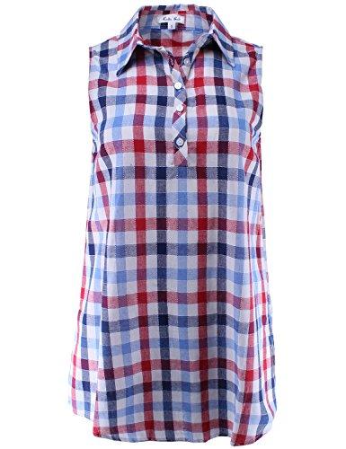 - Ladies' Code Sleeveless Half Placket Plaid Shirt Taupe Blue M Size