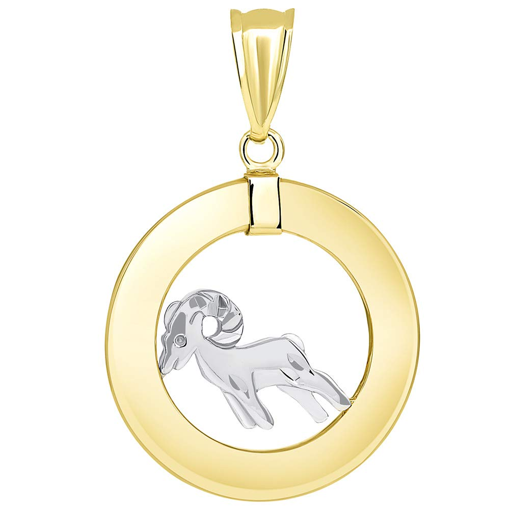 14k Two Tone Gold Open Circle Aries Zodiac Sign Pendant Figaro Necklace