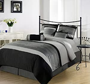 chezmoi collection 7piece 3tone embroidery comforter queen black gray - Bed Set Queen