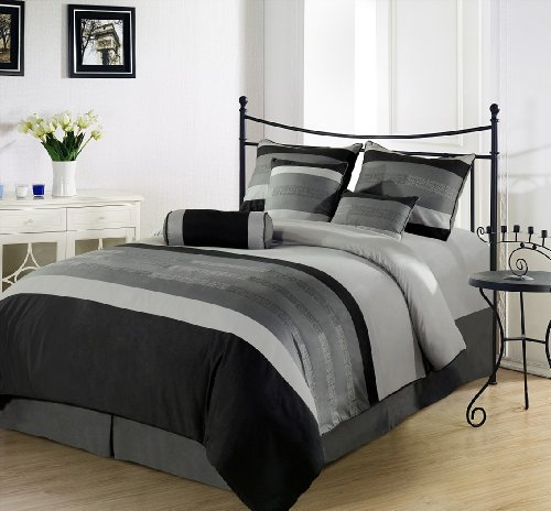 Chezmoi Collection 7 Pieces 3-tone Black Gray Embroidery Duvet Cover Set King Size Bedding price