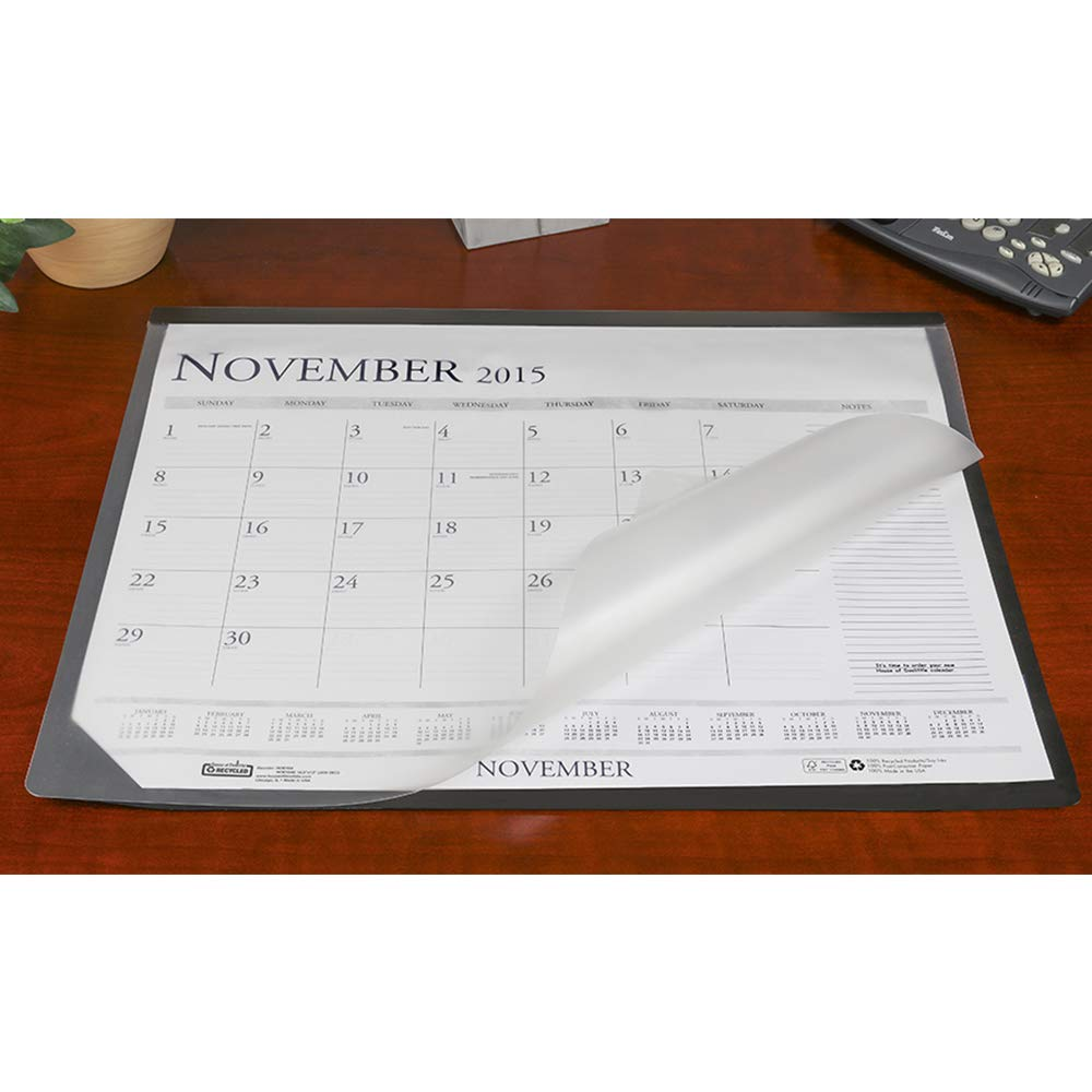 Artistic 17.5'' x 23'' Lift Top Desk Mat Paper Desk Pad Protector with Overlay - Holder for 17'' x 22'' Paper Calendar, Blotter Paper/Grid Paper, Black/Frosted