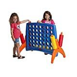 ECR4Kids Junior 4-to-Score Giant Game Set, Backyard Games for Kids, Junior Connect-All-4 Game Set, Indoor or Outdoor Game, Adult and Family Fun Game, Easy to Transport, Almost 3 Feet Tall, Primary Colors
