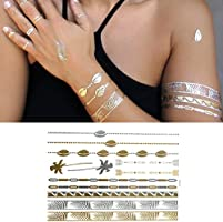 Oottati 6 Hojas Tatuajes Temporales Metálicos Golden Pulsera ...