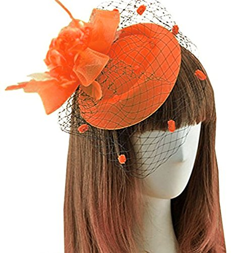 Womens Fascinators Hair Clip Flower Veil Wedding Tea Party Pillbox Hat Headwear Orange