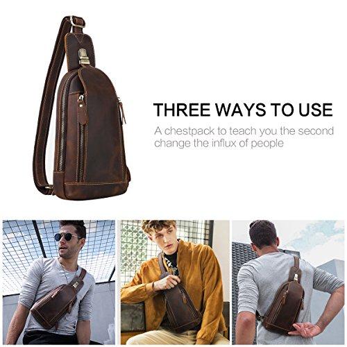 b2901cbbfebf Leathario Men's Leather Sling bag Chest bag One shoulder bag Crossbody Bag  Backpack for men
