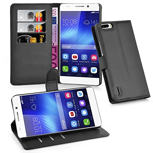 Huawei Honor 6 PLUS Case , CADORABO [Stand Feature] [Ultra Low Profile] Honor 6 PLUS Case Wallet [BLACK] PU Leather Wallet Case with STAND Flip Cover for Honor 6 PLUS - BLACK [Lifetime Warranty]