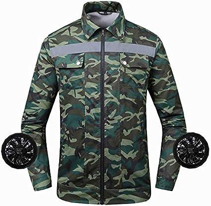 Camisa de refrigeración Resistentes al calor del ventilador de refrigeración Senderismo chaqueta chaquetas de alta temperatura de pesca Trabajo al aire libre Aire acondicionado Ropa de soldadura tácti: Amazon.es: Hogar