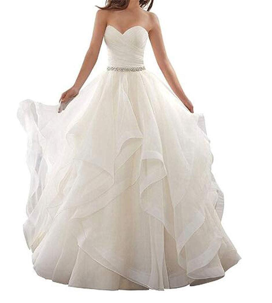 Ivory Yuki Isabelle Women's Sweetheart Neck Backless Ruffles Ball Gown Bride Wedding Dress Organza