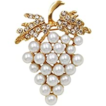 FTH WINE ENTHUSIAST White Wine Grapes Cluster BROOCH Pin-Clear Rhinestone Crystal Leaves.Beautiful!