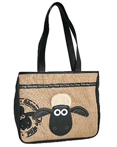 Sacchetto Shaun la pecora per donna–Borsa Shopping portata épaul Shaun the Sheep–Shopper Original–lunghezza 38x altezza 32x profondità 16cm