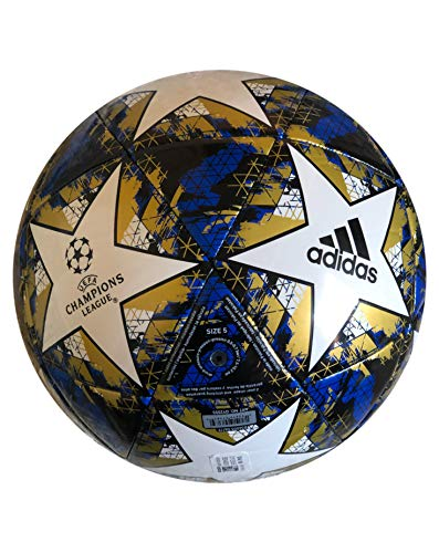 adidas UCL Finale 19 Capitano Soccer Ball, White/Football Blue/Black/Gold Metallic, 5