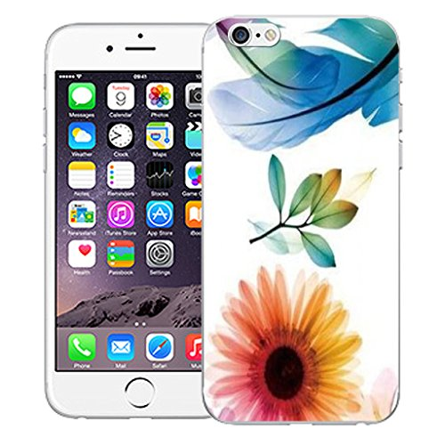 "Mobile Case Mate iPhone 6 Plus 5.5"" Silicone Coque couverture case cover Pare-chocs + STYLET - Blue Feather pattern (SILICON)"