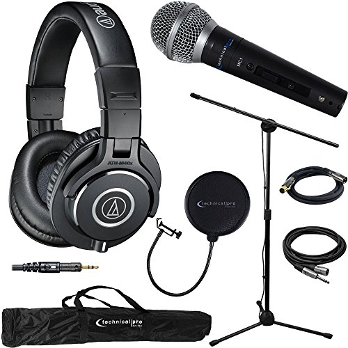 Audio-Technica ATH-M40x Professional Studio Monitor Wired Headphone Black & Technical Pro Microphone Bundle includes Headphones, Microphone, Stand, Holder, XLR Cables, Case and Wind Screen by Audio-Technica