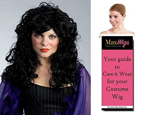 Bundle 3 items: Peg Bundy Saloon Gal Sassy Long Curly Womens Enigma Wigs - Color White, Wig Cap, MaxWigs Costume Wig Care (Saloon Lady Costume)