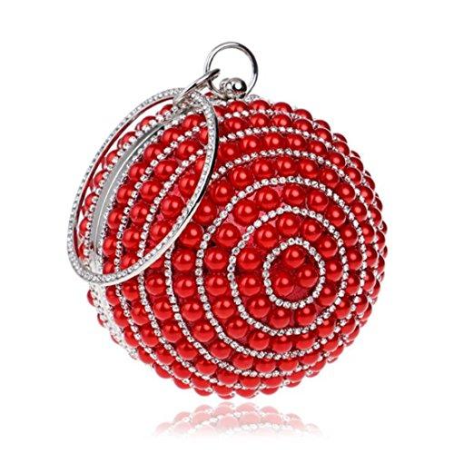 Purse Women Handbag Bag Pearl Ball Party KERVINFENDRIYUN Dress Red Clutch Red Evening Color aHRfCx