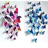 MECO 12pcs 3D Butterfly Sticker Set DIY Home Room Wall Art Design Decal Decor Gift