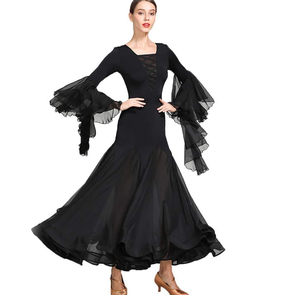 noir Medium JTSYUXN Pratique De Danse Moderne Valse Manches Longues Robes en Mousseline De Soie, Perforhommece De Danse De Salon Jupes VêteHommests De Danse Sociale (Couleur   noir, Taille   XL)