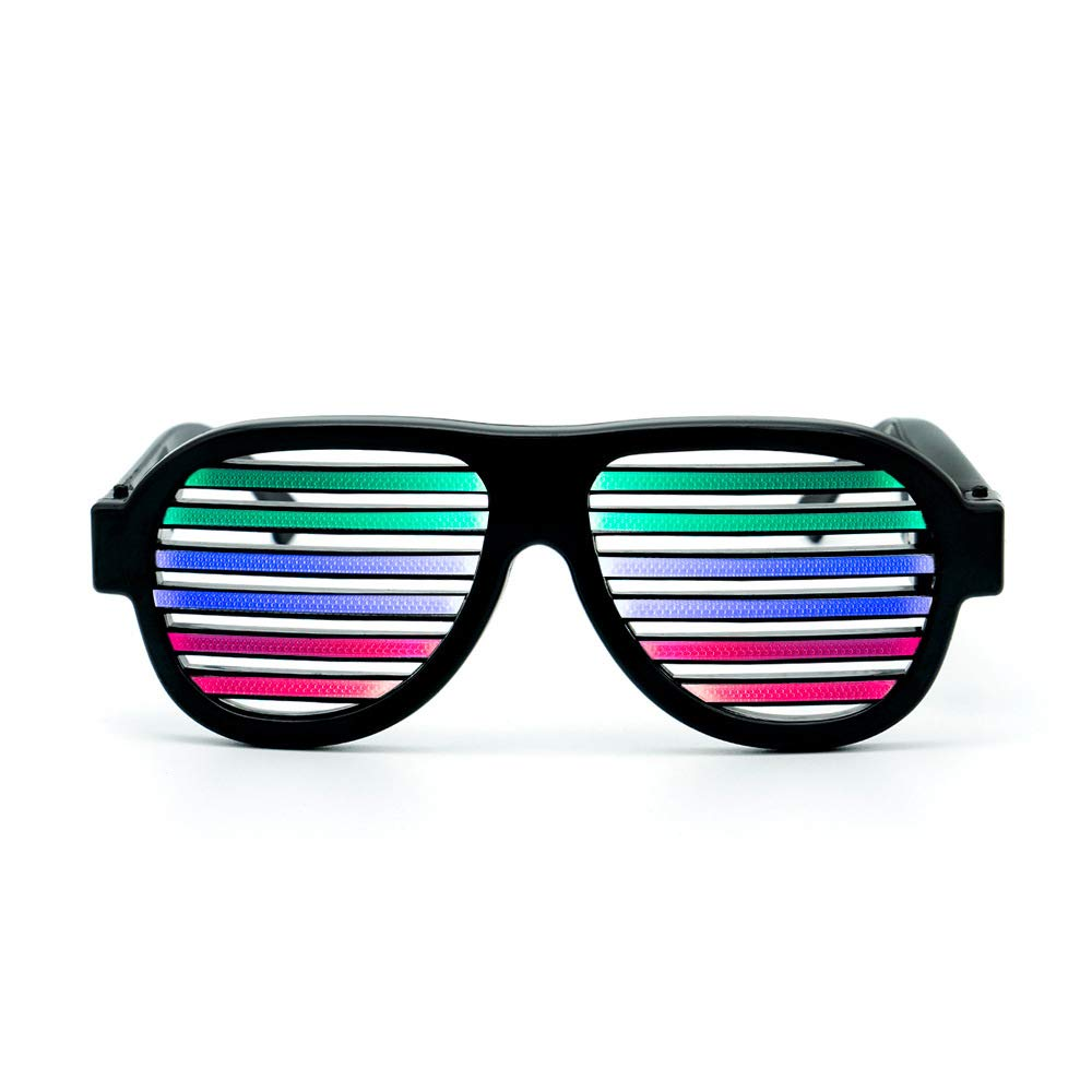 Rainbowind Shutter LED Glasses Sound Voice Active Flashing Light Up Rechargeable Sunglasses for Halloween Christmas Festival Disco Party Black