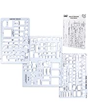 Mr. Pen- House Plan, Interior Design and Furniture Templates, Drafting Tools and Ruler Shapes for Architecture - Set of 3
