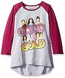 Descendants Girls' Good As Gold Raglan T-Shirt, Light Grey/Burgundy, Large