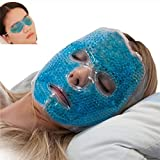 Full Face Gel Mask + Bonus: Eye pad, Hot & Cold Therapy Set |Spa Compress Thermopearl Treatment, Stress Relief, Treats Puffy Eyes, Dark Circles, Acne, Bags |Women Men Gift for Birthday or Anniversary