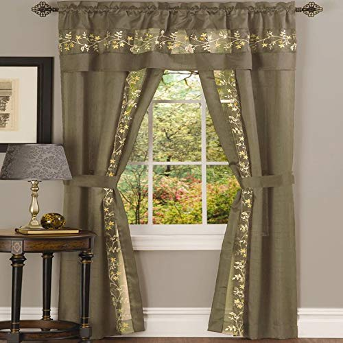 Ben & Jonah PrimeHome Collection Fairfield 5 Piece Window Curtain Set-55x84-Taupe, Taupe