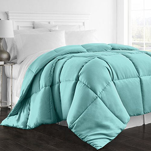 Beckham Hotel Collection 1300 Series - All Season - Luxury Goose Down Alternative Comforter - Hypoallergenic - Queen/Full - Aqua