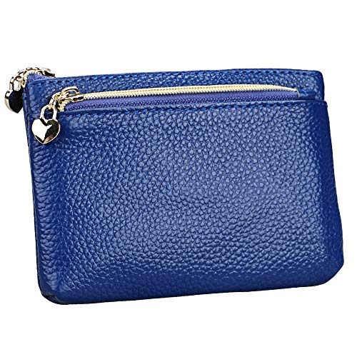 - Women's Genuine Leather Coin Purse Zipper Pocket Size Pouch Change Wallet, Royal Blue
