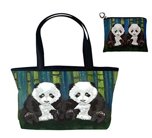 Panda Coin Set (Panda Cubs Gift Set Shoulder Bag and Coin Purse- Support Wildlife Conservation - Read How - From My Original Painting)