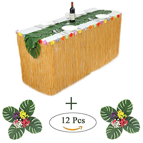 Hawaiian Grass Table Skirt Decorations |(9ft long) With Hibiscus Tropical Leaf Grass Table Runner for Party (Season Long Grass)