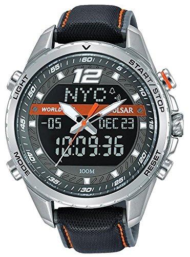 Analog Digital Pulsar - PZ4029X1 Pulsar Mens Analogue Digital Grey Dial Grey Leather Strap Watch