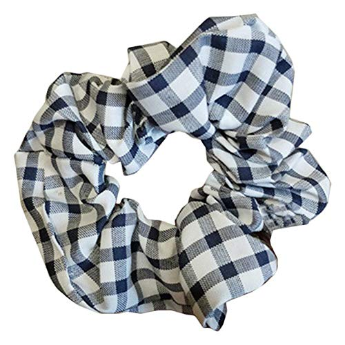 - Best Women Girls Grid Plaid Korea Style Hair Rope Ring Head Hair Accessories OC (Color - Dark Blue)